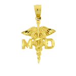 14k gold medical doctor md caduceus charm