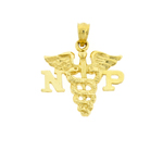 14k gold np nurse practitioner caduceus pendant