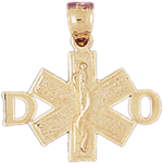 14k gold do star of life medical alert pendant