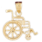 14k gold wheelchair pendant