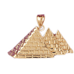 14k gold three egyptian pyramids pendant
