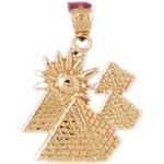 14k gold egyptian pyramids with sun pendant