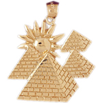 14kt gold egyptian pyramids with sun pendant