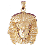 14k gold pharaoh king tut headdress pendant