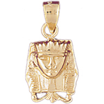 14k gold egyptian pharaoh headdress charm