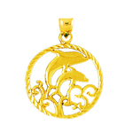 14k gold dolphins with waves encircled pendant