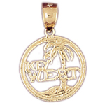 14k gold key west palm tree charm