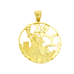 14k gold i love new york statue of liberty pendant