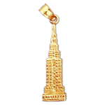 14k gold 3d empire state building charm