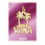 14k gold palm tree kona charm