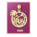 14k gold kauai hawaii in circle charm
