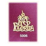 14k gold i love florida palm trees charm