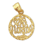 14k gold florida in circle charm