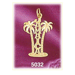 14k gold jamaica with palm trees charm