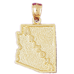 14k gold arizona state map charm