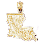 14k gold louisiana state map pendant