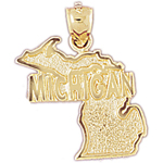 14k gold michigan state map pendant