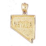 14k gold nevada state map charm
