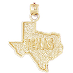 14k gold texas state map pendant