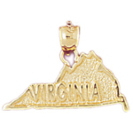 14k gold virginia state map charm