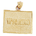 14k gold wyoming state map pendant