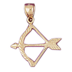 14k gold native indian arrow and bow pendant