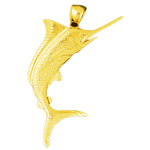 14k gold 3d marlin fish pendant