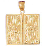14k gold backgammon pendant