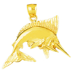 14k gold marlin fish pendant