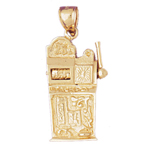 14k gold large 25 cent slot machine pendant