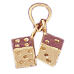 14k gold 3 dimensional pair of dice charm