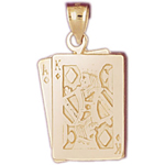 14k gold ace king of diamonds playing cards charm