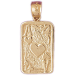 14k gold ace of hearts playing cards charm