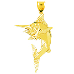 14k gold blue marlin pendant
