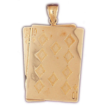 14k gold ace ten of diamonds pendant