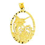 14k gold tropical marlin fish medallion