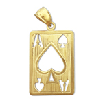 14kt gold cutout ace of spades charm