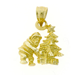 14k gold 3d santa claus with christmas toys charm