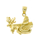 14k gold 3d santa claus with sleigh pendant