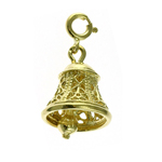14k gold 3d filigree christmas bell charm