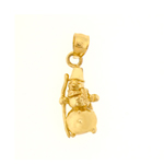 14k gold 3d snowman with scarf charm