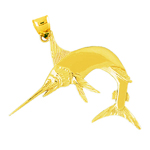 14k gold marlin sport fishing pendant