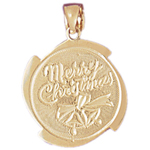 14k gold merry christmas medallion