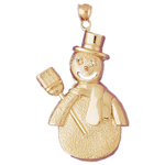 14k gold snowman with hat and broom pendant