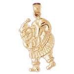 14k gold santa claus with bag of toys charm