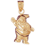 14k gold 3-d waving santa claus charm