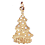 14k gold filigree christmas tree charm