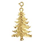 14k gold christmas tree pendant