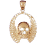 14k gold skull with wings pendant