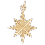 14k gold eight point star charm
